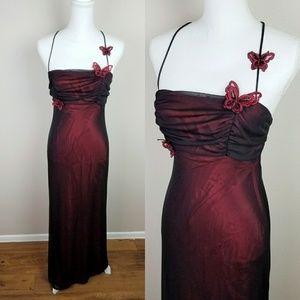 Niki Livas Red Black Long Gown Butterfly Dress 9